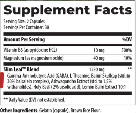Barefoot Origins Slim Leaf Ingredients
